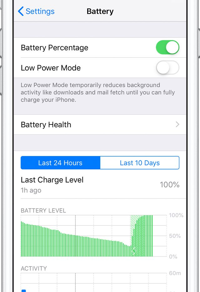 The iPhone's battery health can be found in Settings.