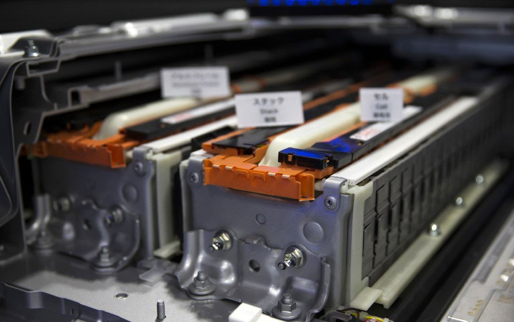 Lithium-ion batteries for Toyota Motor Corp.'s new Prius plug-in hybrid vehicle. (Tomohiro Ohsumi/Bloomberg)