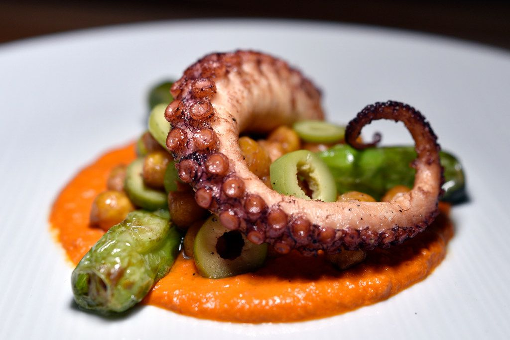 Octopus with chick peas, olives and shishito peppers on romesco sauce, an antipasto at Sprezza, Julian Barsotti's Roman tavern