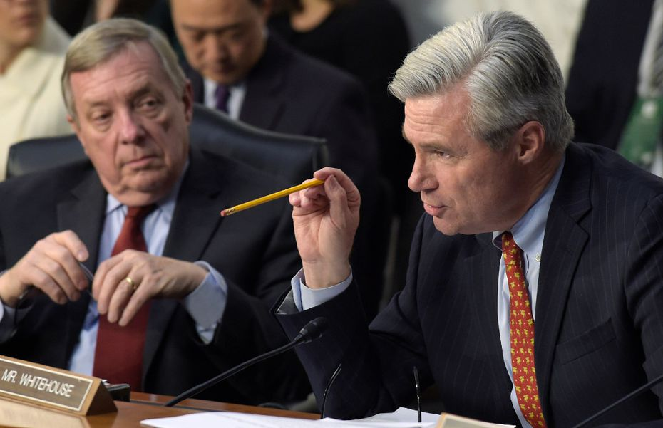 Senate Judiciary Committee member Sheldon Whitehouse, D-R.I., (right) and Sen. Richard Durbin, D-Ill. questioned Supreme Court justice nominee Neil Gorsuch on Capitol Hill in Washington on Tuesday.  (Susan Walsh/The Associated Press)