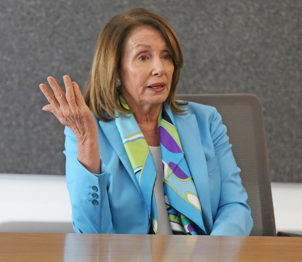 U.S. House Minority Leader Nancy Pelosi meets with the Dallas Morning News editorial board to discuss the Democrats' plan called the Better Deal on May 11, 2018 at the DMN offices in Dallas.  (Louis DeLuca/The Dallas Morning News)