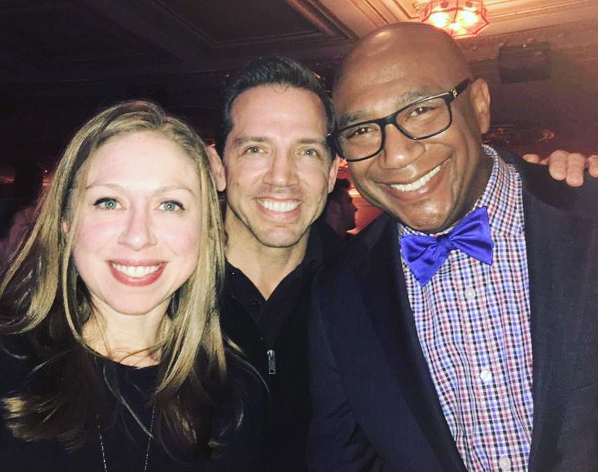 From left to right, Chelsea Clinton, stage and screen actor Mel England and Terry D. Loftis, the president and executive director of The Community Arts Alliance, or TACA, in Dallas.