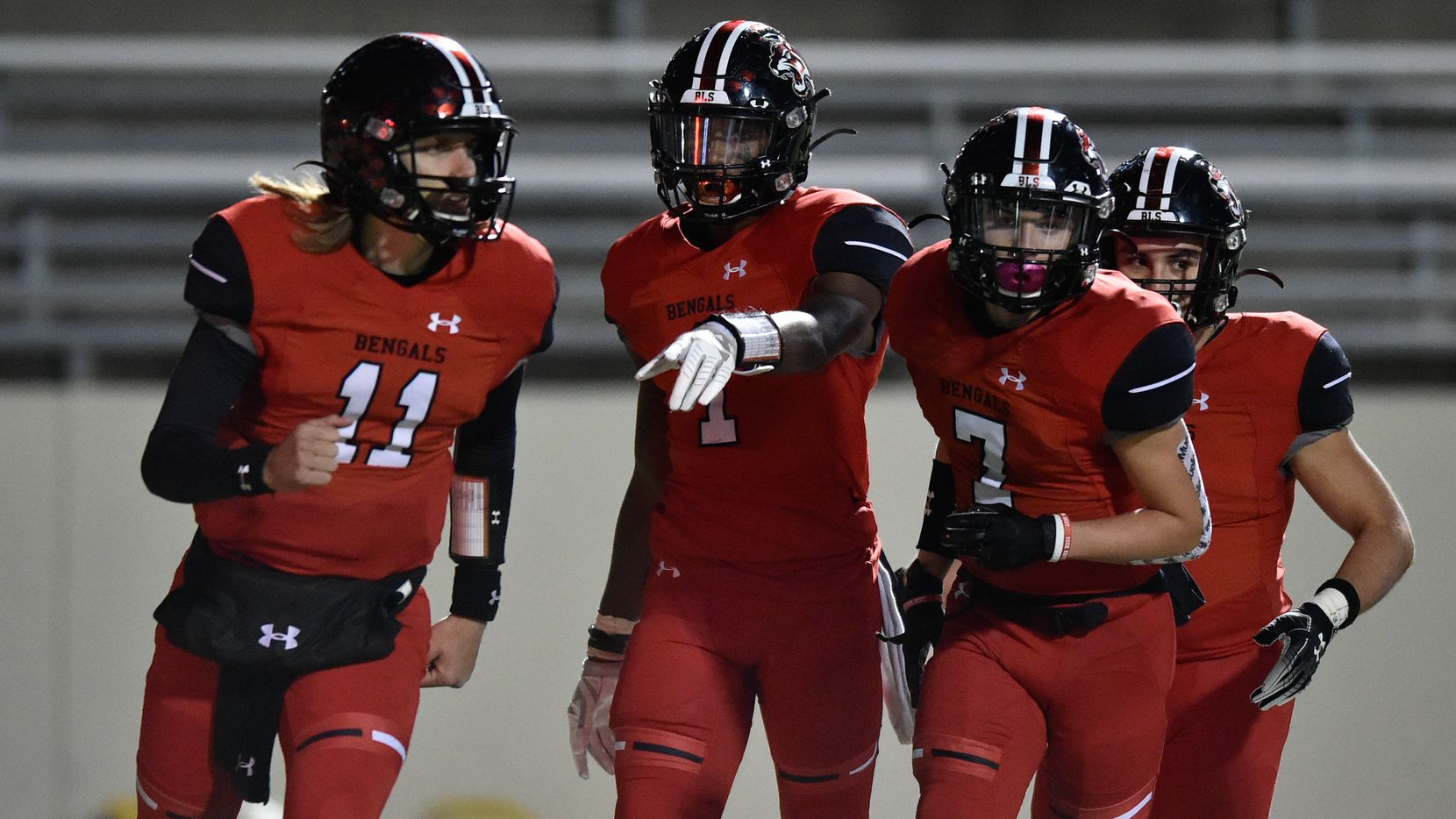 The Braswell football team celebrates after they score against the Corsicana defense at C.H. Collins Athletic Complex, Friday, November 15, 2019, in Denton, Texas.