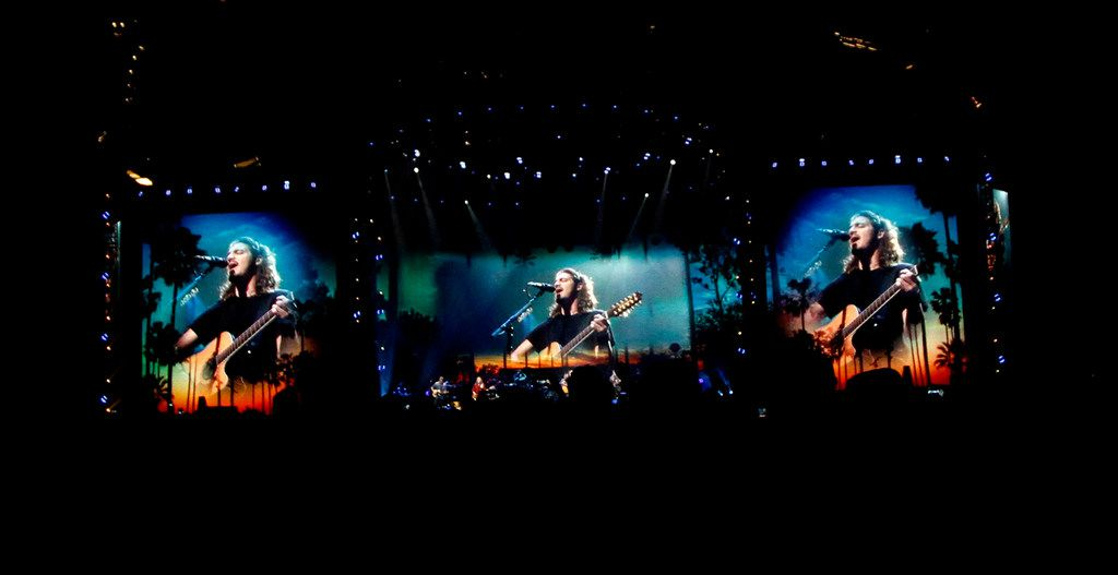 Images of the iconic band, the Eagles, perform as their larger than life images are projected for the capacity crowd assembled. Chris Stapleton, who opened the show, and the Eagles performed before a  capacity crowd of their fans at AT&T Stadium in Arlington on June 23, 2018. (Steve Hamm/ Special Contributor)