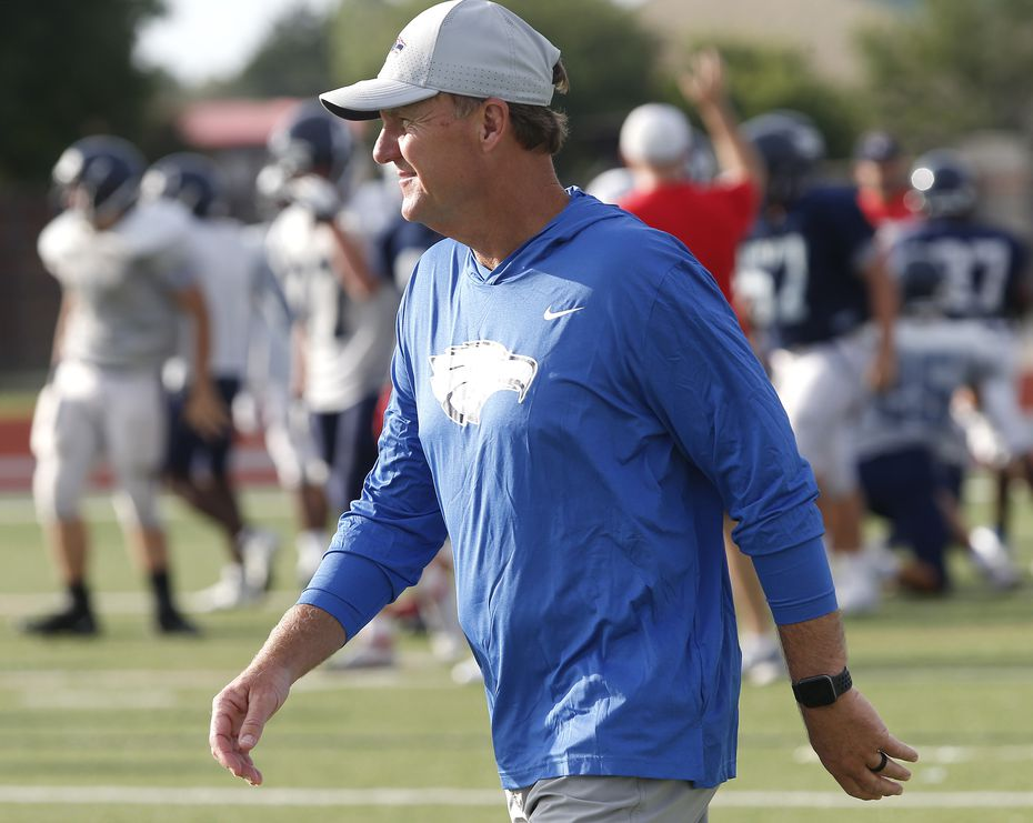 Allen High School head football coach Chad Morris observes the freshman practice while Allen High School held media day on Saturday morning, August 14, 2021. (Stewart F. House/Special Contributor)