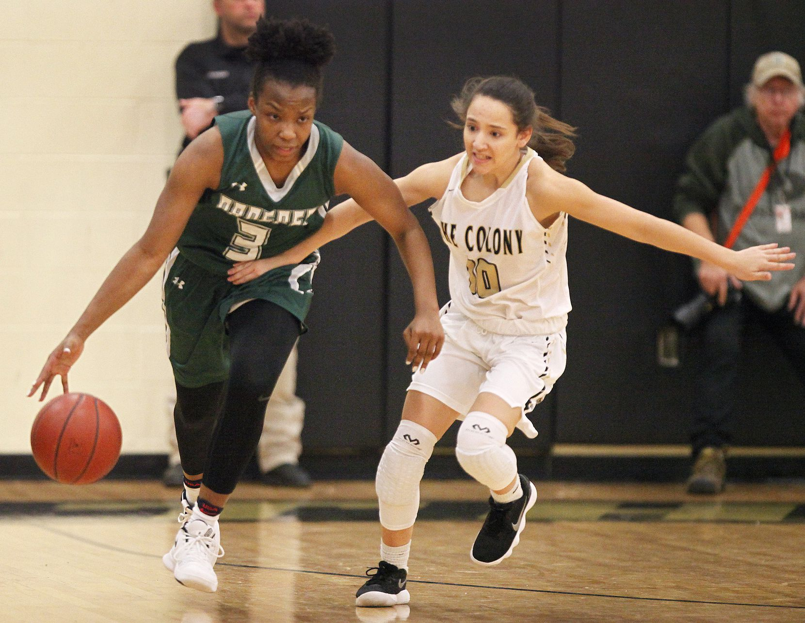 Proper post Jordyn Oliver dribbles down the court while defended by The Colony gaurd Hannah Rhone (10) during the first half as The Colony High School hosted Prosper High School in a girls basketball game played on Tuesday night, January 30, 2018. (Stewart F. House/Special Contributor)