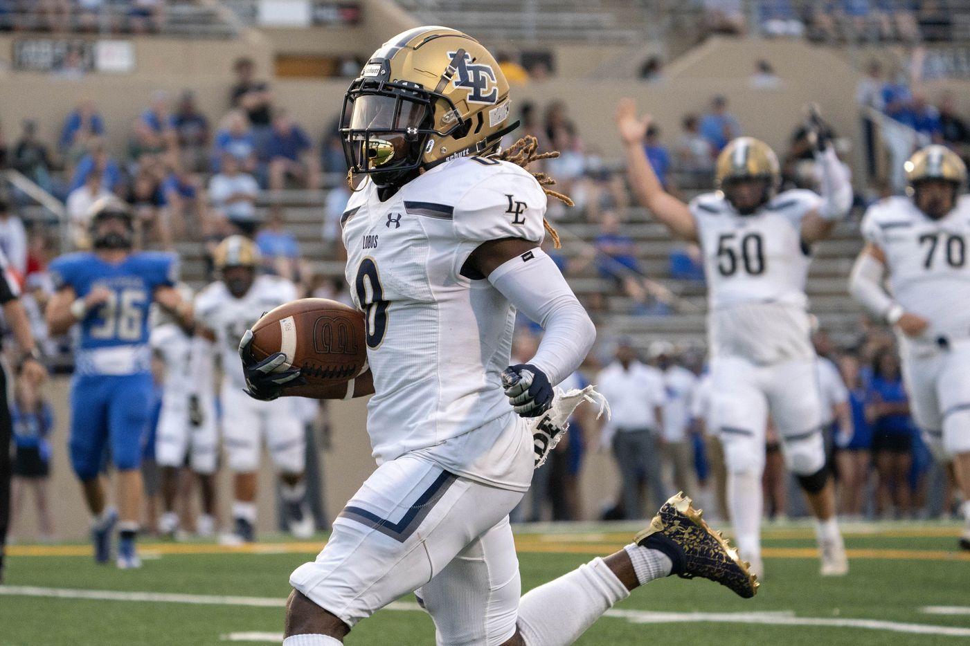 Little Elm senior wide receiver Cameran Taylor-Butler runs in for a touchdown during the first half of a high school football game against Plano West on Friday, Sept. 10, 2021 at John Clark Stadium in Plano, Texas. (Jeffrey McWhorter/Special Contributor)
