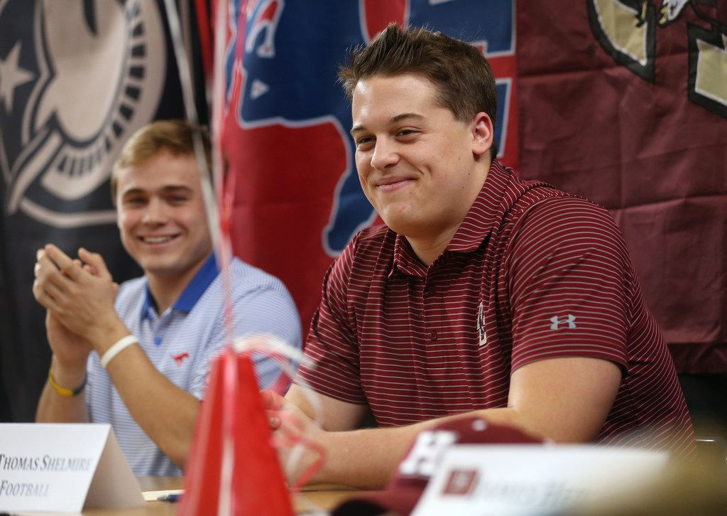 Thomas Shelmire, who is signing to play football at Boston College, reacts during Highland Park High School's National Signing Day ceremony at the school in Dallas on Wednesday, Feb. 7, 2018. (Rose Baca/The Dallas Morning News)
