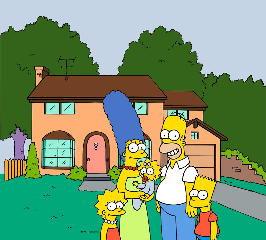 This Fox Broadcasting photo from 'The Simpsons' shows the popular cartoon family posing in front of their home. That's (from left) Lisa, Marge, Maggie, Homer and Bart Simpson. An unrelated company is opening two 'Simpsons' themed bars in Dallas starting June 11, 2021.