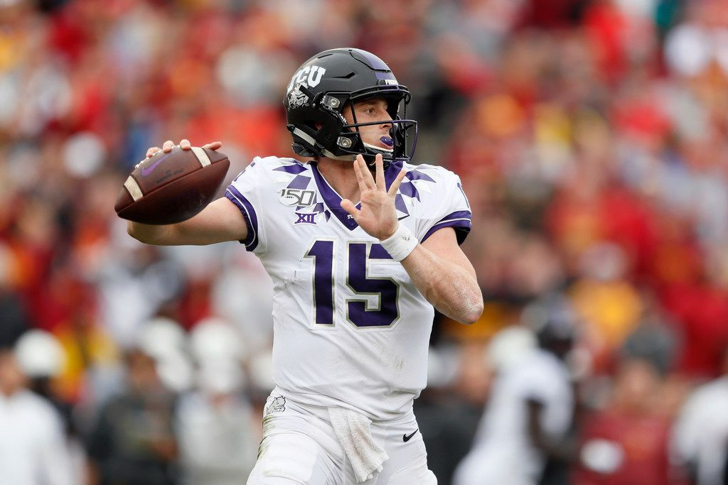 TCU quarterback Max Duggan throws a pass during the first half of an NCAA college football game against Iowa State, Saturday, Oct. 5, 2019, in Ames, Iowa. (AP Photo/Charlie Neibergall)