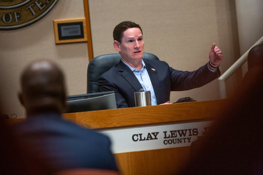 Dallas County Judge Clay Jenkins speaks during a Dallas County Commissioners Court meeting at the Dallas County Administration Building in Dallas on Aug. 26, 2019. A special meeting was called to discuss the salary grievance committee.