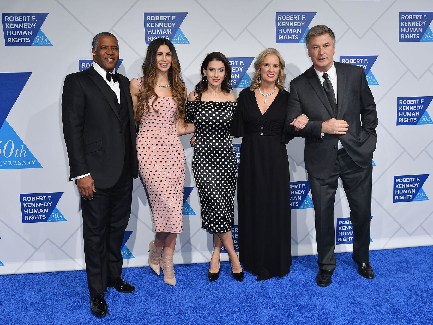 Robert F. Smith (left), his wife model Hope Dworaczyk, Hilaria Baldwin, Human Rights activist Kerry Kennedy and actor Alec Baldwin attended the 2018 Robert F. Kennedy Human Rights' Ripple Of Hope Awards at New York Hilton Midtown.