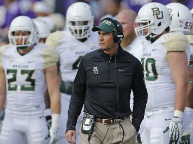 Baylor head coach Art Briles is pictured on the sidelines during the Baylor University Bears vs. the TCU Horned Frogs NCAA football game at Amon Carter Stadium in Fort Worth on Saturday, November 30, 2013.