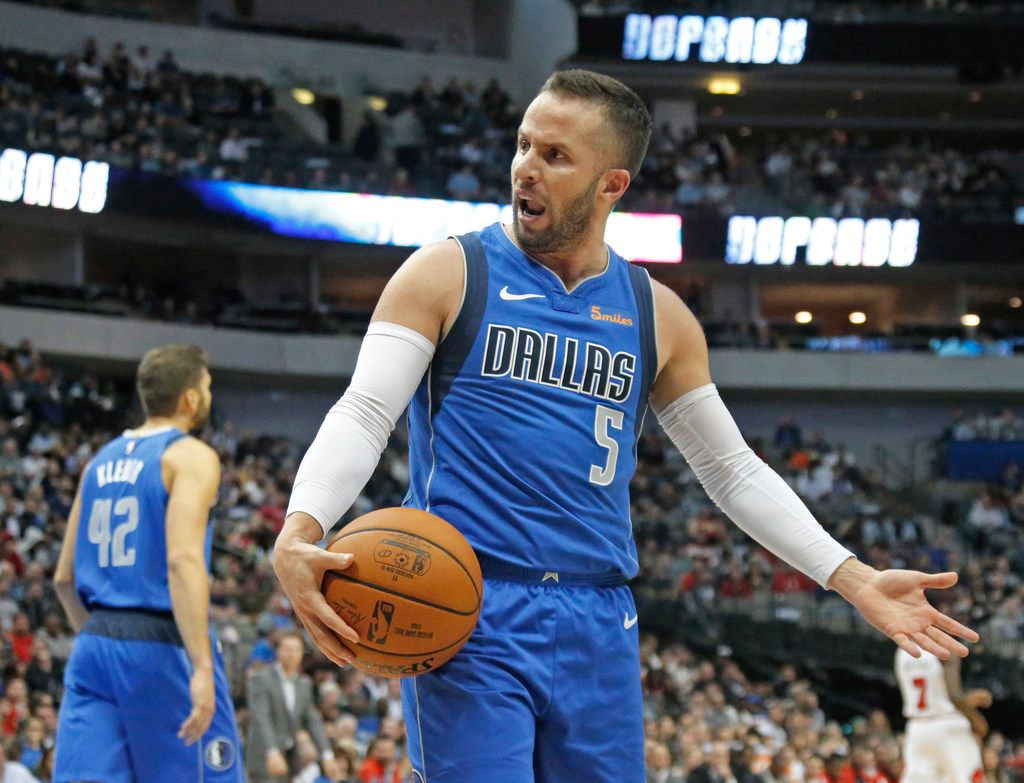 FILE - Dallas Mavericks guard J.J. Barea (5) questions an official's call in the second half during the Chicago Bulls vs. the Dallas Mavericks NBA basketball game at the American Airlines Center in Dallas on Monday, October 22, 2018.