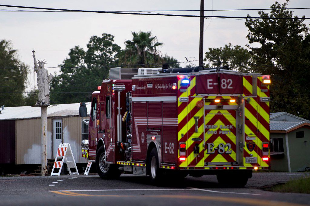 A firetruck waits at a roadblock after a chemical plant operated by the Arkema Group had an explosion during the aftermath of Hurricane Harvey on August 31, 2017 in Crosby, Texas