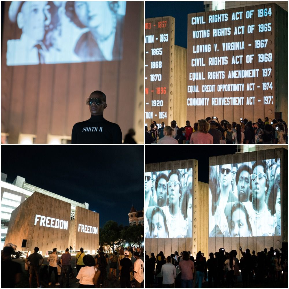 The Freedom Pt. II event on Friday night June 12 at JFK Memorial Plaza including 3D projections of African Americans killed by police violence, civil rights leaders and descriptions of important civil rights moments.