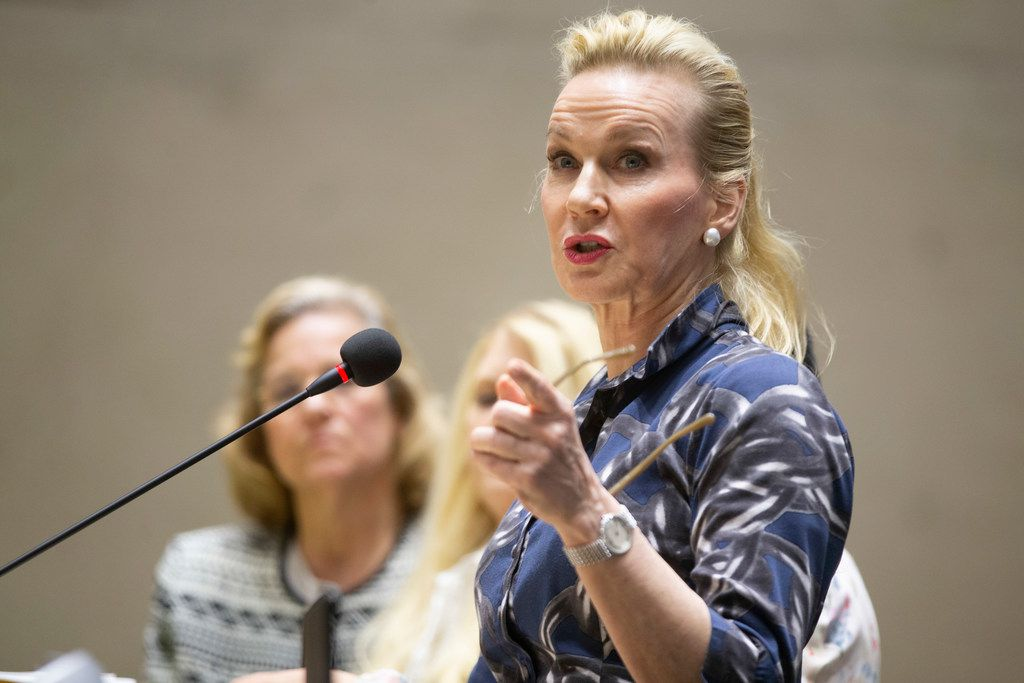 Tomima Edmark, addressing the City Plan Commission last month, is one of the property owners opposed to the Salvation Army campus, which would sit across the street from her property off Stemmons Freeway.