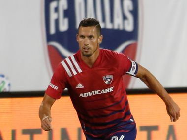FC Dallas defender Matt Hedges (24) looks for an open team member during first half action against Inter Miami. The two teams played their Major League Soccer match at Toyota Stadium in Frisco on October 28, 2020.