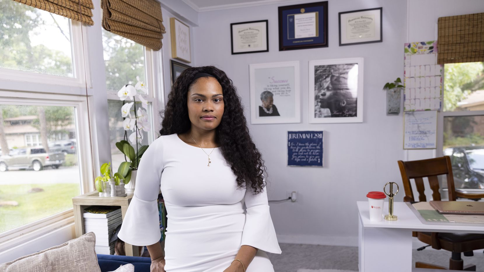 Dr. Maxine Davis poses for a photo in her office on Thursday, July 1, 2021, at her home in Arlington. Dr. Davis recently left her tenure track position at the University of Texas at Arlington. (Juan Figueroa/The Dallas Morning News)