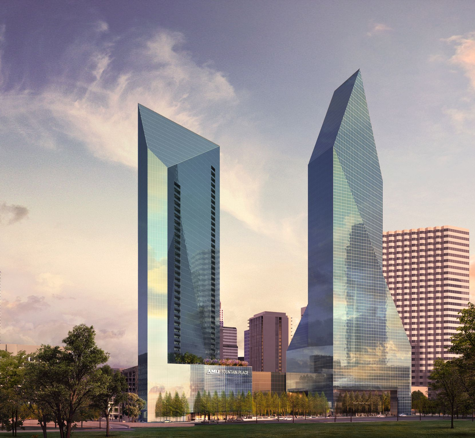 Chicago-developer Amli Residential is building the tallest tower in downtown Dallas in almost three decades. The 45-story apartment high-rise will go up next to the rocket-shaped Fountain Place skyscraper on downtown's north side.