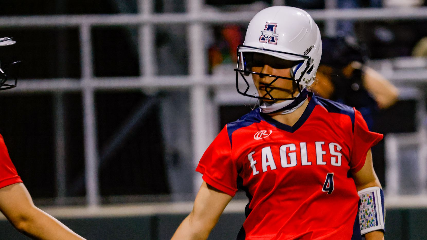 Allen's Sami Hood (4) celebrates running to home during the sixth inning of a District 5-6A game against Denton Guyer at Denton Guyer High School in Denton on Tuesday, Apr. 9, 2021.