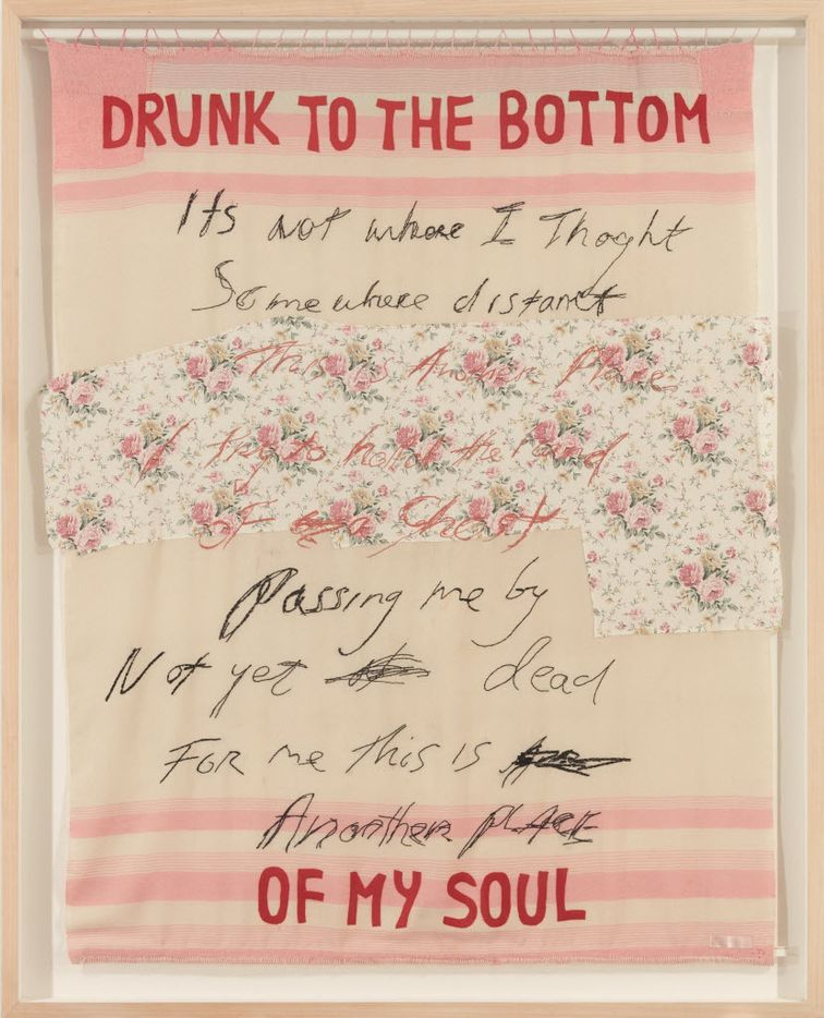 This undated photo provided by Christie's Images LTD. 2019, shows Drunk to the Bottom of My Soul, by Tracey Emin. The item is one of more than 200 art pieces from music artist George Michael's private collection that will go up on the auction block in London in March. (Christie's Images LTD. 2017 via AP