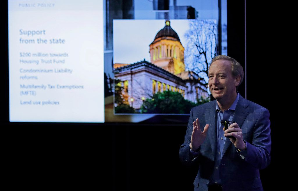 Microsoft president Brad Smith spoke Thursday during a presentation in Bellevue, Wash., to announce a pledge by Microsoft Corp. to develop affordable housing for low- and middle-income workers.