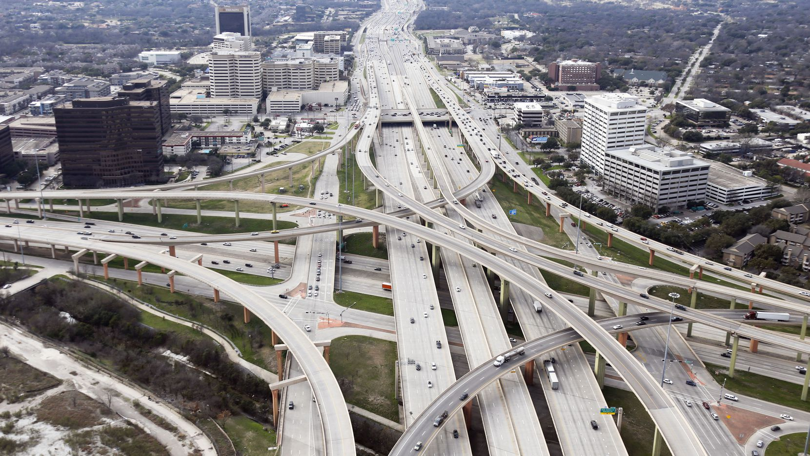 Intersection of LBJ Freeway (Interstate 635 and Central Expressway (US 75) at the High Five Interchange in Dallas on Friday, February 15, 2019.