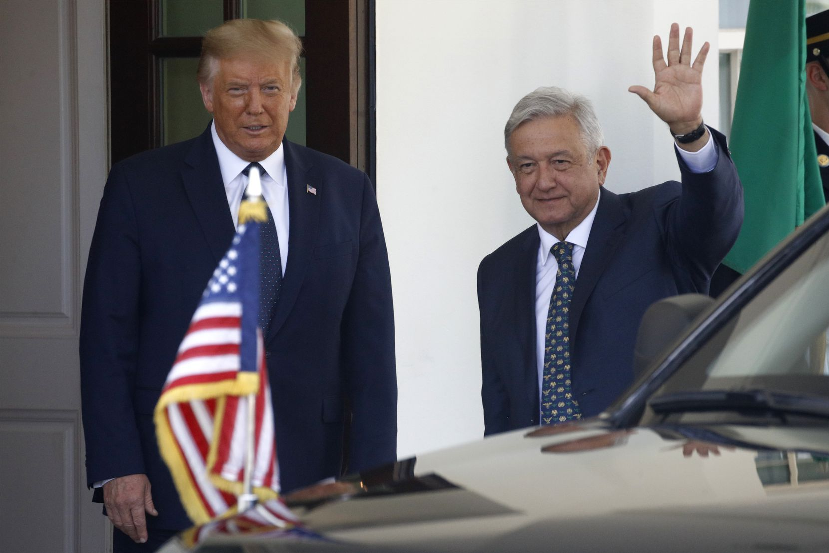 President Donald Trump greeted Mexican President Andres Manuel Lopez Obrador at the White House on July 8, 2020.
