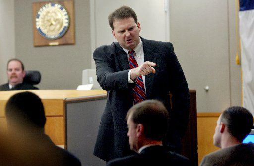 Then-Dallas County prosecutor Bill Wirskye points at Randy Halprin (far right) at his June 2003 trial. Judge Vickers Cunningham is on the bench. Halprin, who is seeking a new trial, is on death row for the capital murder of Irving Officer Aubrey Hawkins. Halprin alleges in a federal appeal that Cunningham made anti-Semitic and racist comments that should have prevented the judge from presiding over his trial.