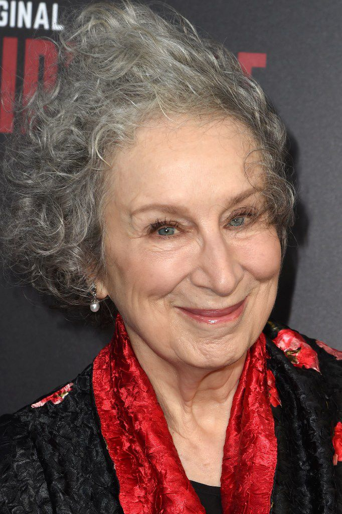 """Author Margaret Atwood attends the Los Angeles premiere of Hulus """"The Handmaids Tale,"""" April 25, 2017 at the ArcLight Dome in Hollywood, California."""
