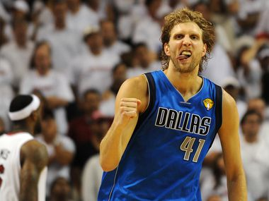Dirk Nowitzki of the Dallas Mavericks celebrates a point against the Miami Heat in Game 6 of  the NBA Finals on June 12, 2011 at the American Airlines Arena in Miami, Florida. (Don Emmert/AFP/Getty Images)
