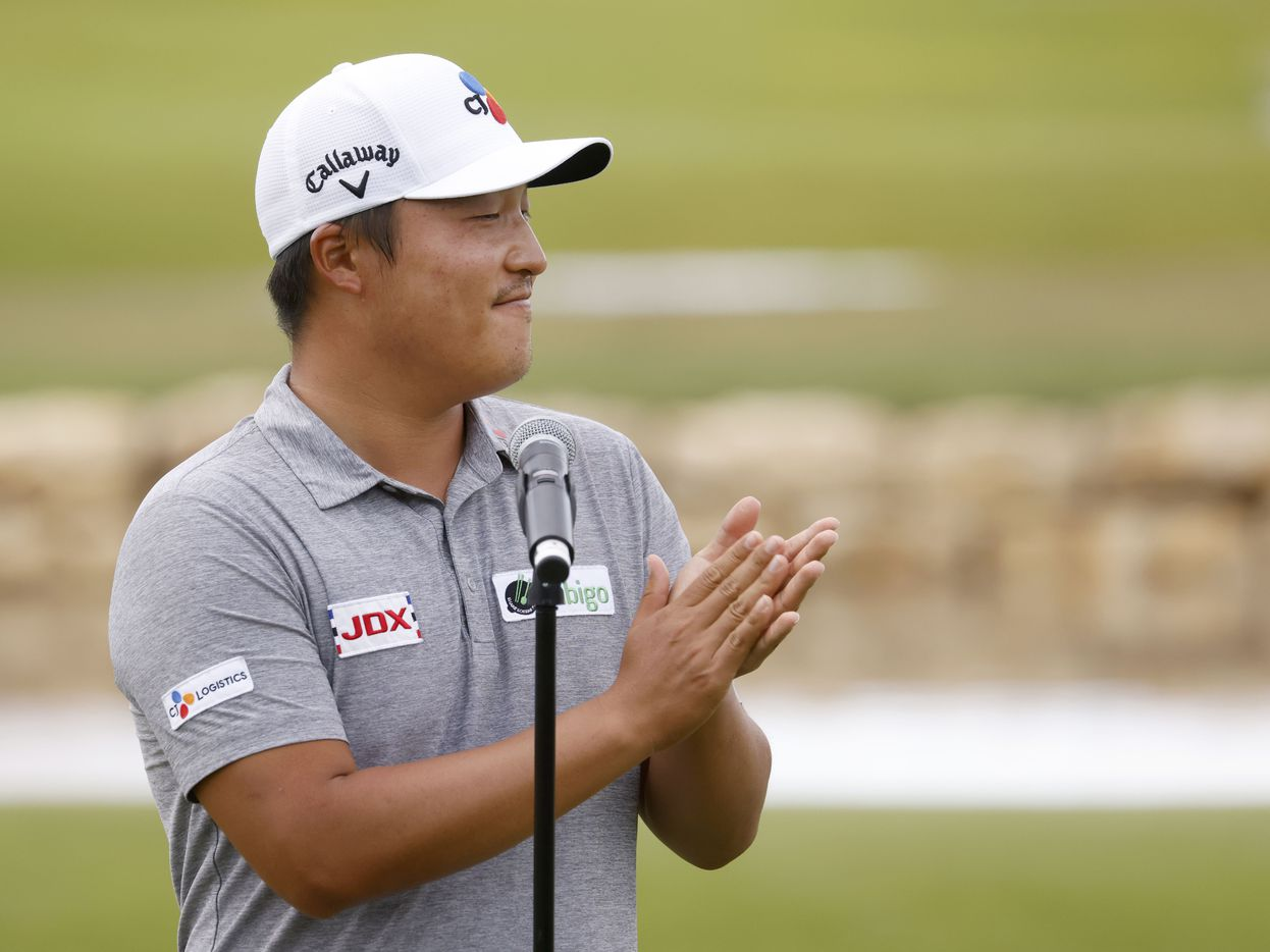 Kyoung-Hoon Lee claps during the trophy presentation after winning the AT&T Byron Nelson at TPC Craig Ranch on Saturday, May 16, 2021 in McKinney, Texas. (Vernon Bryant/The Dallas Morning News)