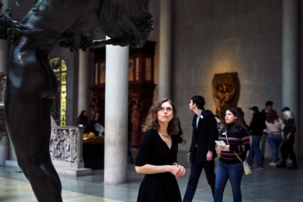 Madeline Miller in the Greek and Roman galleries at the Metropolitan Museum of Art in New York.