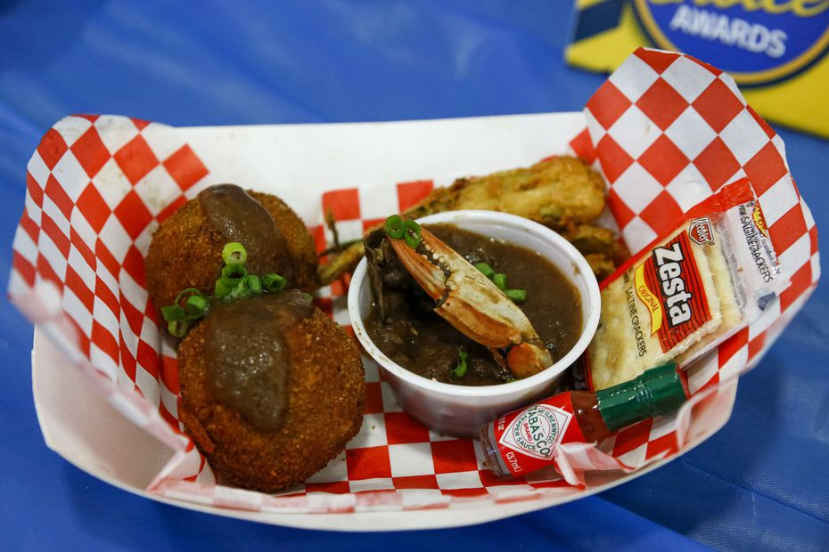 Keep an eye out for Greg Parish's fried gumbo balls. They're made from his late mother's gumbo recipe. The final product gets the State Fair of Texas treatment: It's deep fried, y'all.