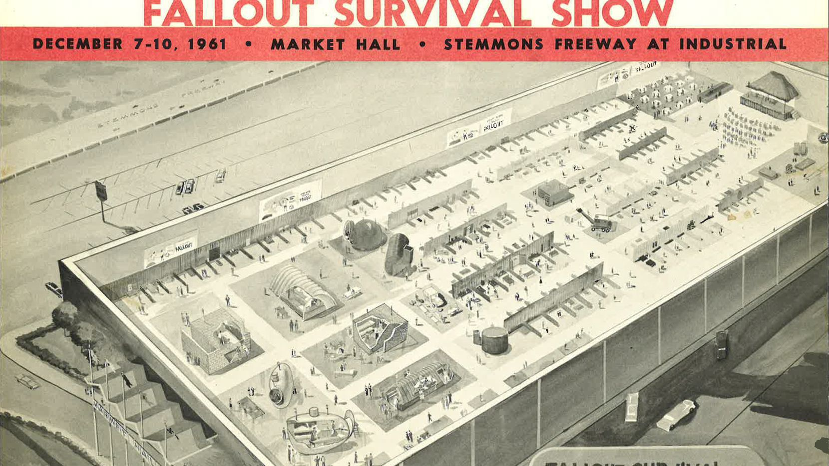 "An image of a ""Fallout Survival Show"" hosted by The Dallas Morning News in 1961."