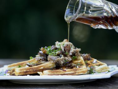 Ranched Waffles With Pulled Pork and Bourbon Maple Syrup (Stewart F. House/Special Contributor)