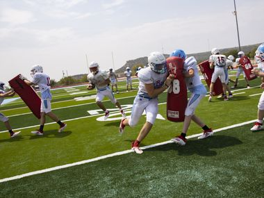 Players on the Borden County High School football team practice on Aug. 17, 2020 in Gail.