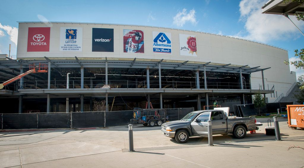 Construction on a final unfinished storefront at Toyota Music Factory in Las Colinas on Oct. 5.