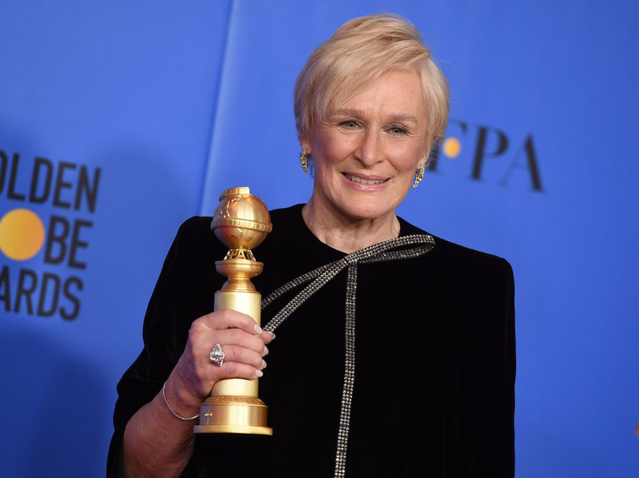 Glenn Close poses with the award for best performance by an actress in a motion picture, drama at the 76th annual Golden Globe Awards at the Beverly Hilton Hotel on Jan. 6, 2019, in Beverly Hills, Calif.