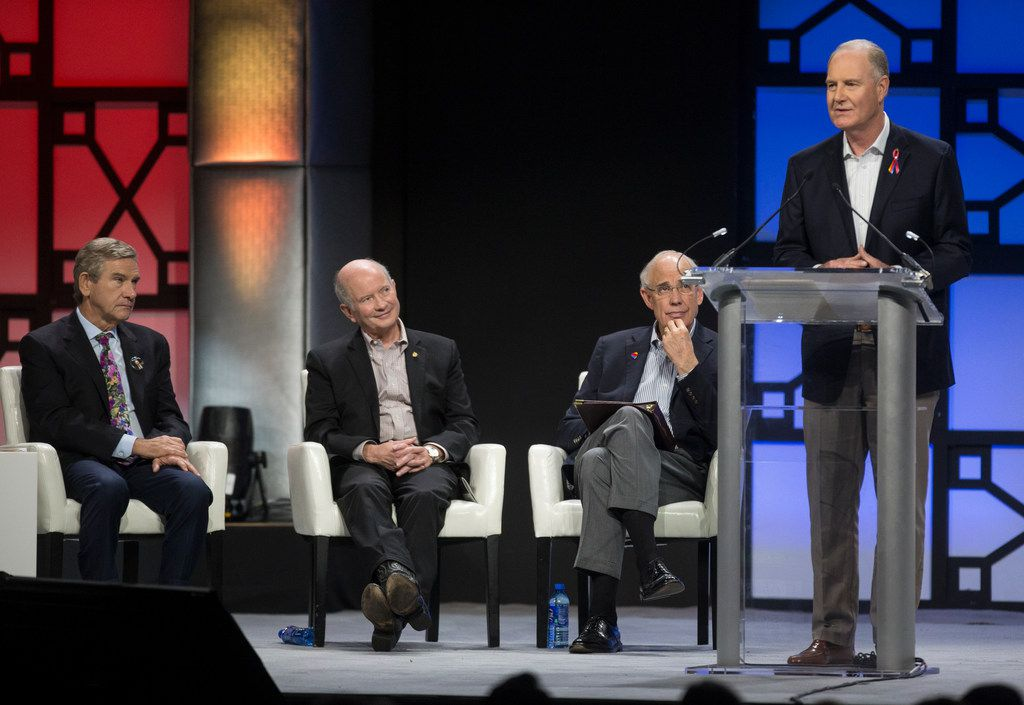 Southwest Airlines Chairman and CEO Gary Kelly (right) spoke as Presiding Director Bill Cunningham (second from right), retired Air Force Gen. Duncan McNabb (center) and Craig Hall listened during a celebration of life event for Southwest co-founder Herb Kelleher on Jan. 22, 2019 at Kay Bailey Hutchison Convention Center in Dallas.