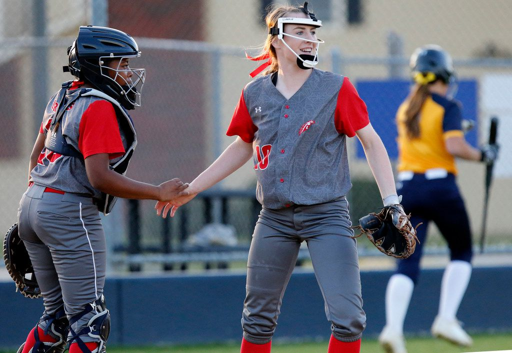 McKinney Boyd pitcher Kinsey Kackley (right) leads the Dallas area in strikeouts (353) and ERA (0.61) and is second in wins with 17.  (Stewart F. House/Special Contributor)