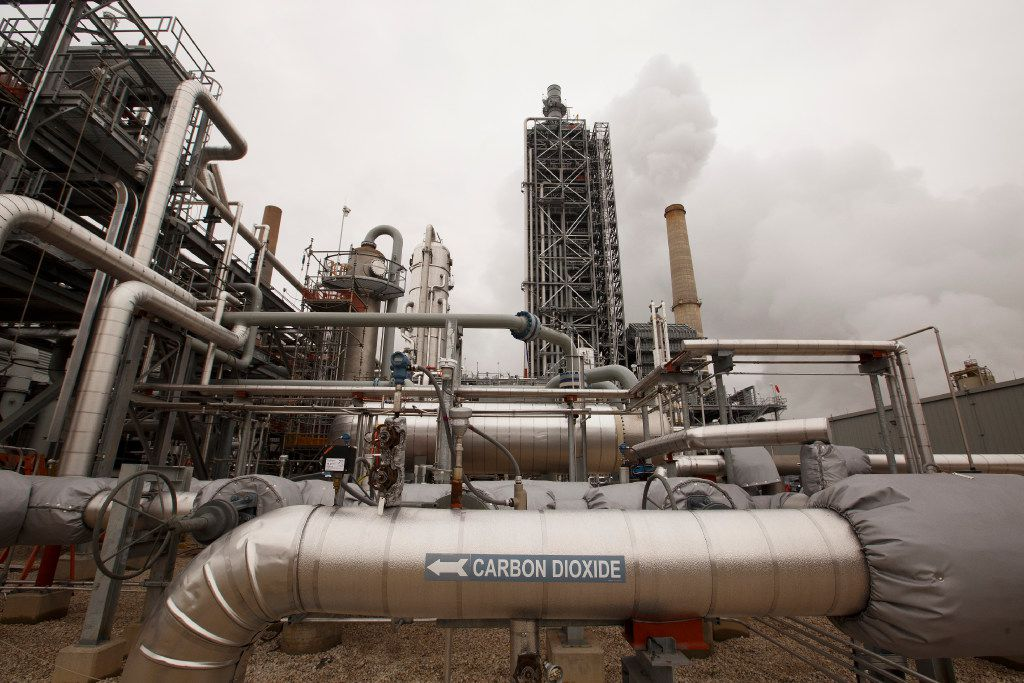 Carbon capture equipment, which is able to pull carbon dioxide out of industrial processes before the gas can make its way into the atmosphere, is at the Petra Nova plant near Houston. (Michael Stravato/The New York Times)