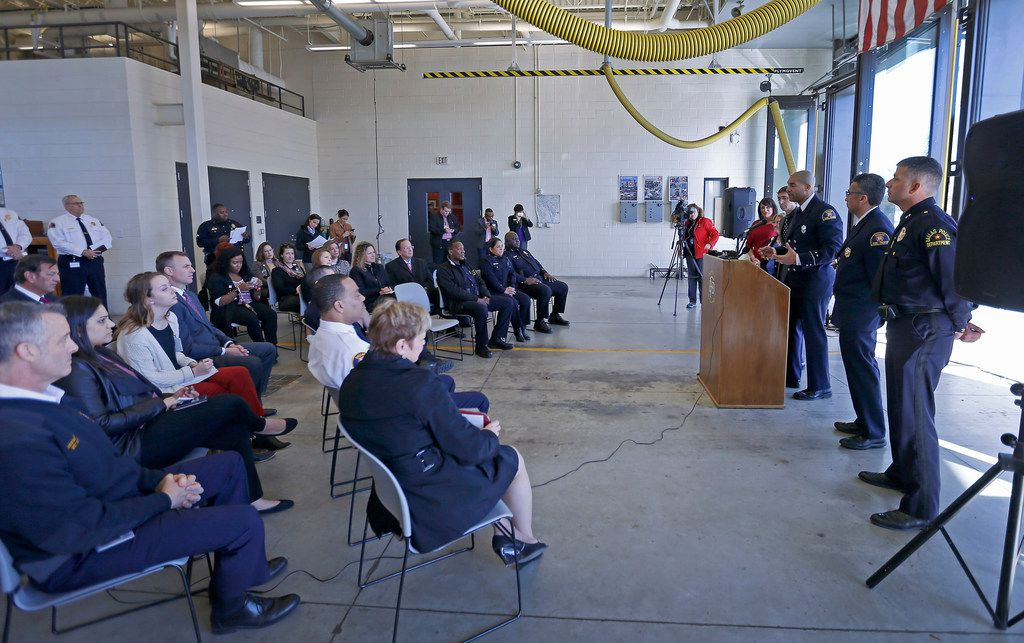 Officials from Dallas Fire-Rescue, the Meadows Mental Health Policy Institute, Dallas police and Parkland Health & Hospital System announced the RIGHT Care program Monday at a fire station in South Dallas.