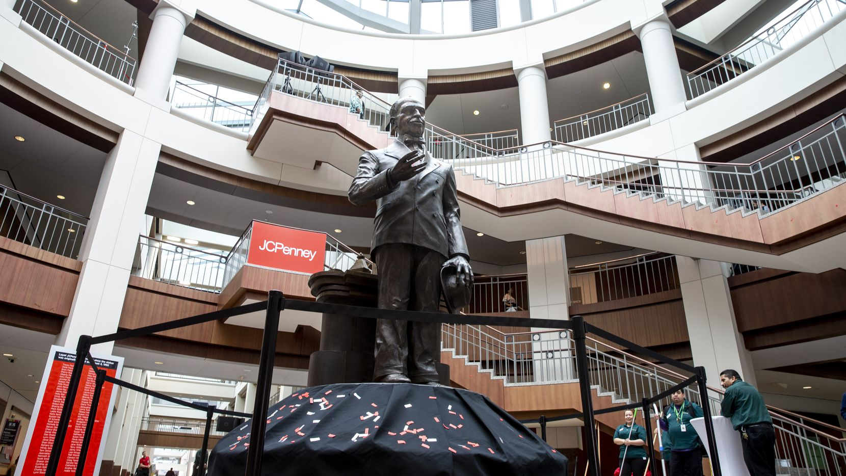 The James Cash Penney statue had been in the main atrium of 6501 Legacy Drive in Plano for almost three decades. The bronze statue was moved to the northside atrium of the campus two years ago. Penney needed less space at that point and had moved into that side of the campus after it sold the property.