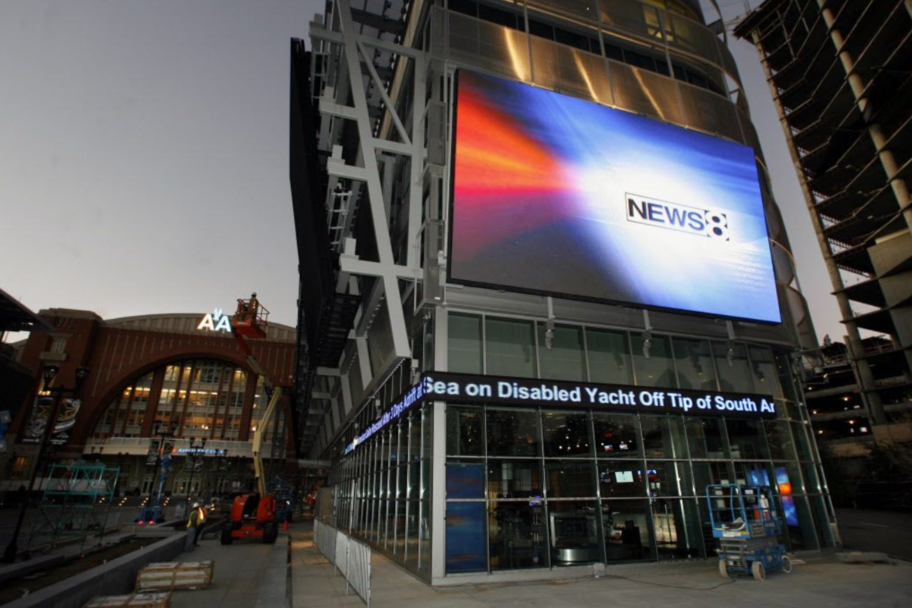 WFAA studio outside of American Airlines Center.