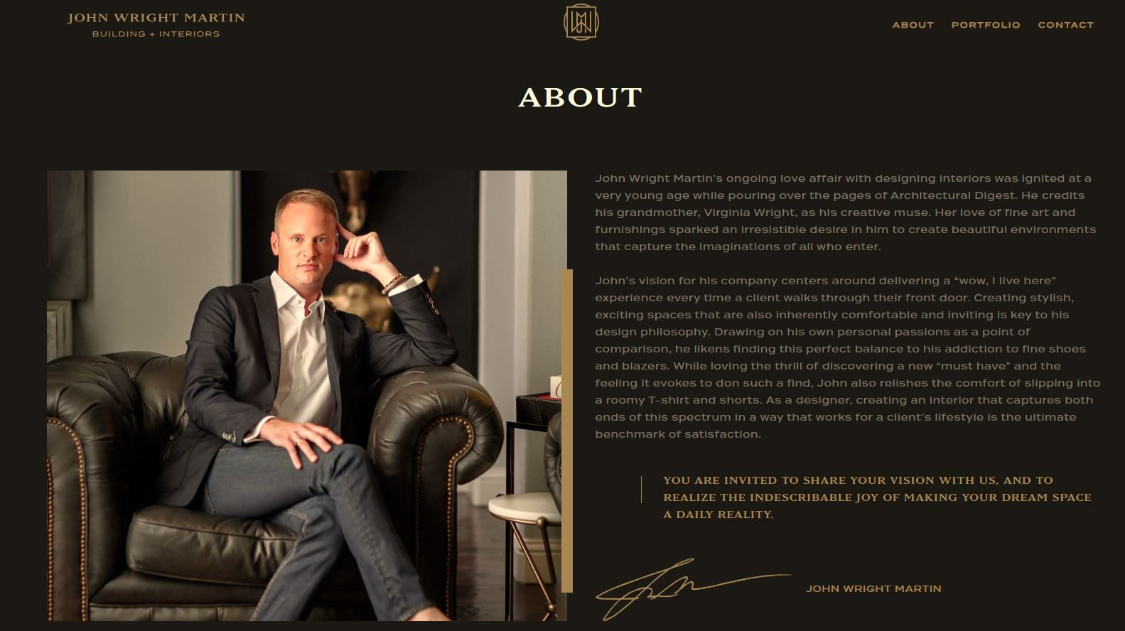This image from John Wright Martin's website for JWM Designs LLC explains his passion for interior design.