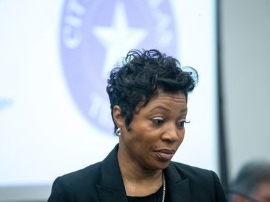 Police Chief U. Renee Hall  during a City Council briefings on a Dallas Police Department staffing study.