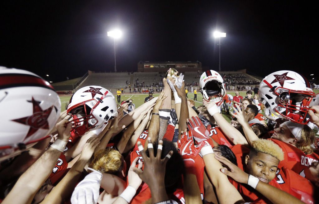 TXHSFB  Coppell celebrates their 37-6 win over Rowlett in the class 6A Division I first-round playoff high school football game at Buddy Echols Field in Coppell, Friday, November 17, 2017. (Brandon Wade/Special Contributor)
