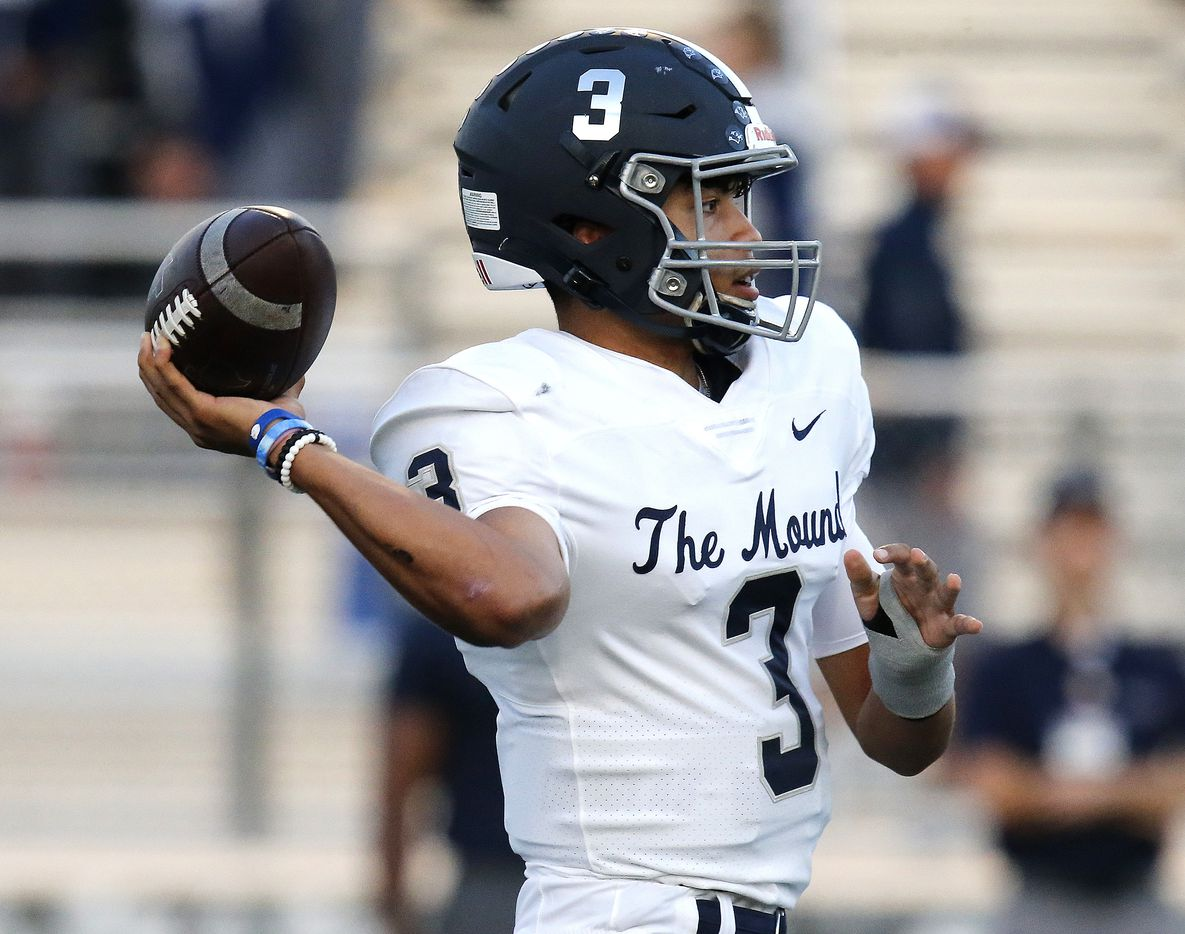 Flower Mound High School quarterback Nick Evers (3) throws a pass during the first half as Flower Mound Marcus hosted Flower Mound High School in a district 6-6A football game at Marauder Stadium in Flower Mound on Friday night, September 24, 2021. (Stewart F. House/Special Contributor)